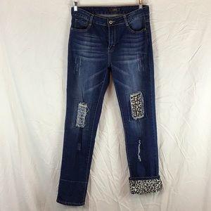 L.&B Cropped Distressed Animal Print Blue Jeans 🛍